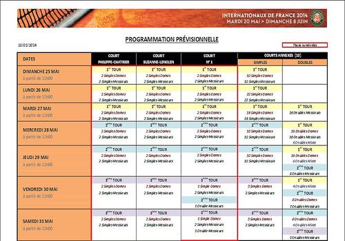 Télécharger programme roland-garros 2014