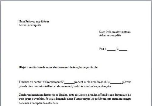 Modele resiliation contrat location materiel document online - Courrier resiliation bail meuble ...