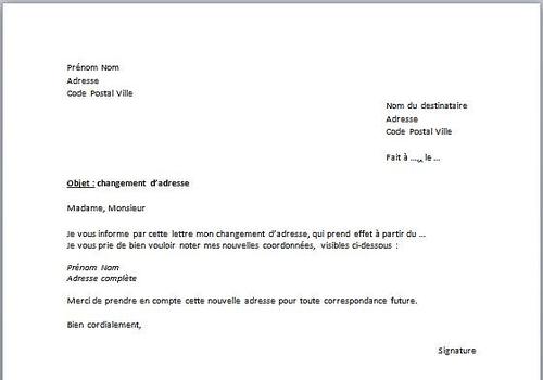 T l charger mod le de d claration de changement d 39 adresse for Changement d adresse sur internet