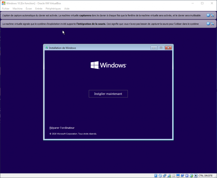 Windows 10 sur une machine virtuelle