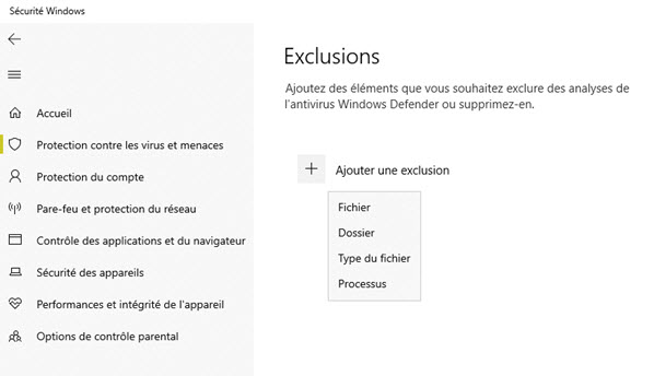 Exclure un fichier Windows Defender